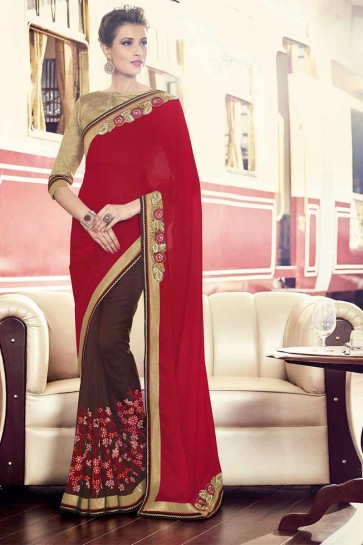 Red and maroon Satin Chiffon, georgette Saree