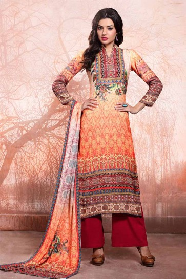 Orange Platinum Rayon Salwar Kameez