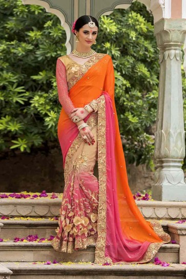 Pink, Beige, Orange Silk, Net Saree