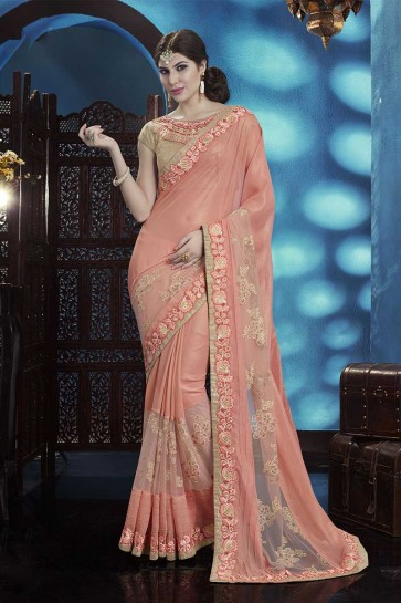 Peach Georgette, Net Saree