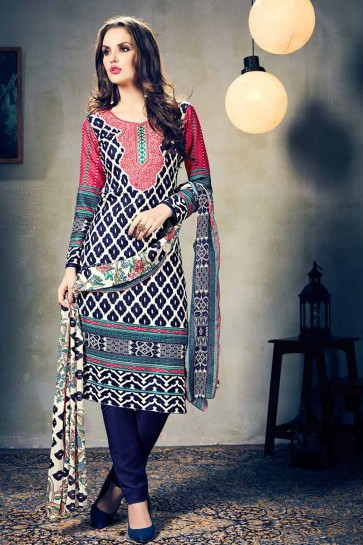 Blue,Cream European Wool Salwar Kameez