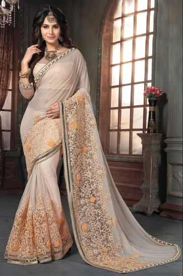 Pale Peach Knitted Georgette Saree