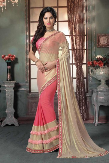 Coral Pink, Cream Knitted Georgette Saree