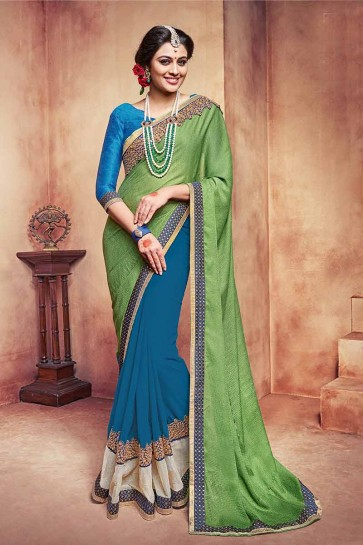 Green, Blue Georgette Saree