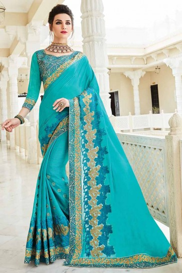 Light Blue Georgette Saree