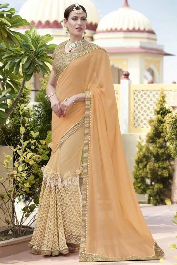 Peach Georgette , Net Saree