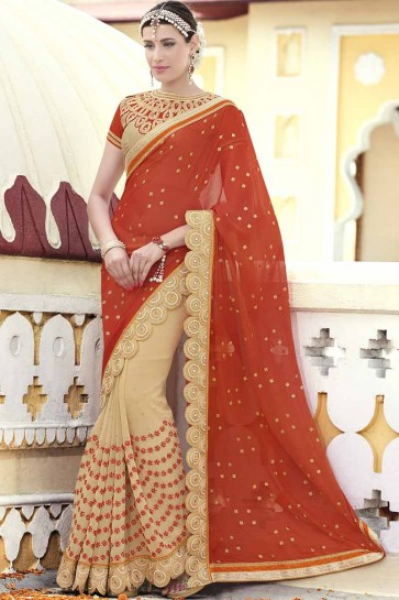 Red And Beige Chiffon , Georgette Saree