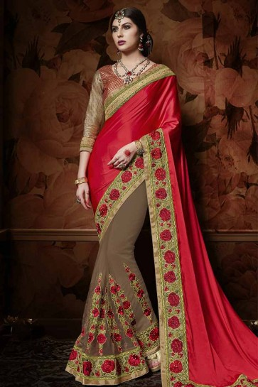 Red , Brown Satin , Net Saree