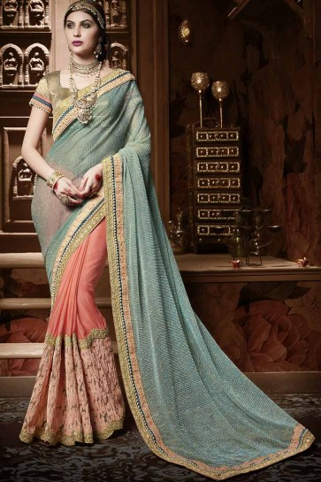 Cyan , Orange Chiffon Saree