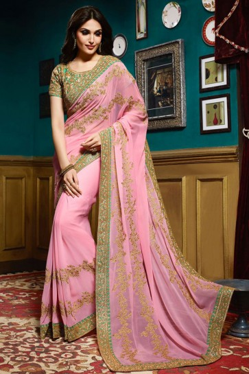 Pink Georgette ,Satin Silk Saree