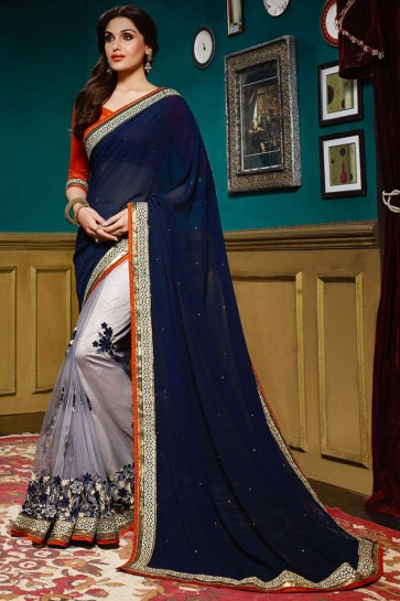 Dark Blue , Light Grey Georgette , Net Saree