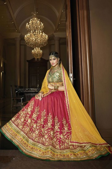 Red Sahi Silk Bridal Lahanga