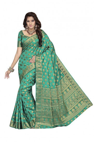 Rama Green Raw Silk Saree