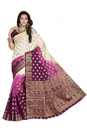 Off White & Purple Raw Silk Saree