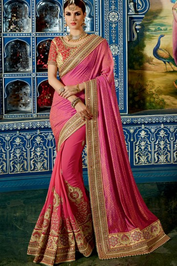 Red & Orange Georgette & Crape Saree