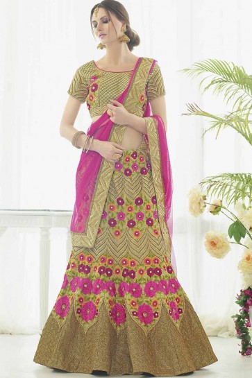 Sand Gold Silk Bridal Lahanga