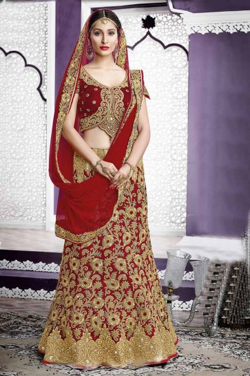 berry Red Velvet Bridal Lahanga