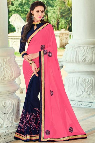 pink and Navy Blue Georgette Saree