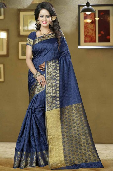 Navy Blue Balatan Silk Saree
