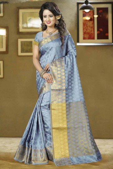 Grey Balatan Silk Saree