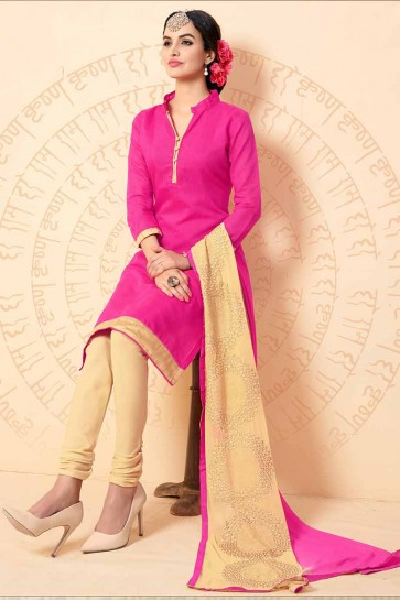 Pink Chanderi Churidar Suit