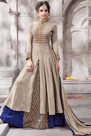 Dark Fawn  Gless Cotton Anarkali Suit