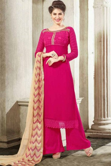 Rani Pink Georgette Palazzo Suit