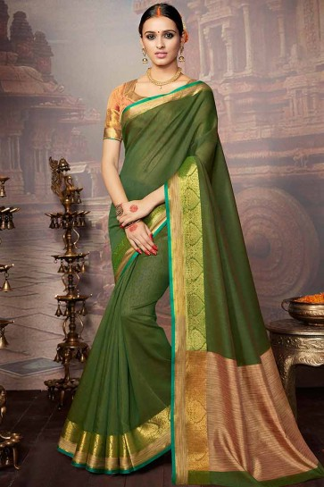 Green Khadi Silk Saree