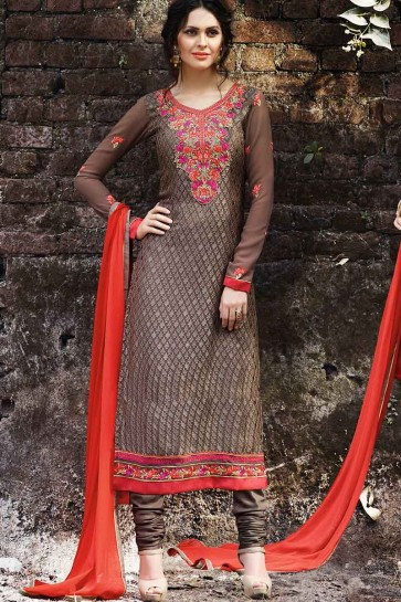 Brown Georgette Brasso Churidar Suit
