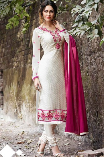 Off White Georgette Brasso Churidar Suit