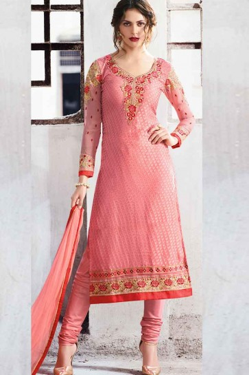 Peach Georgette Brasso Churidar Suit
