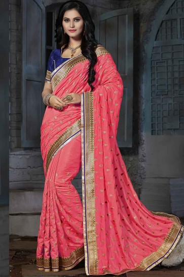Dark Peach Art Silk Saree
