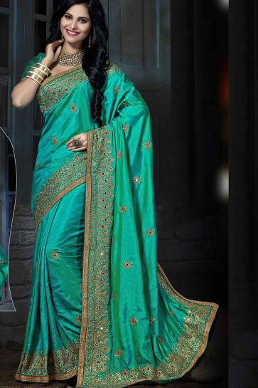 Teal Green Art Silk Saree