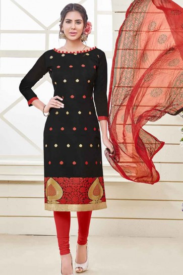 Black Banarasi Jacquard Churidar Suit