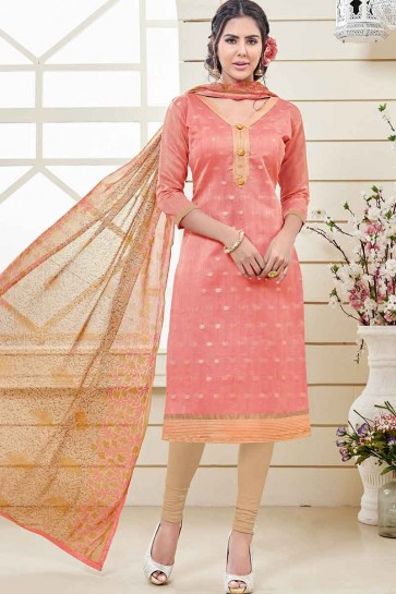 Peach Banarasi Jacquard Churidar Suit