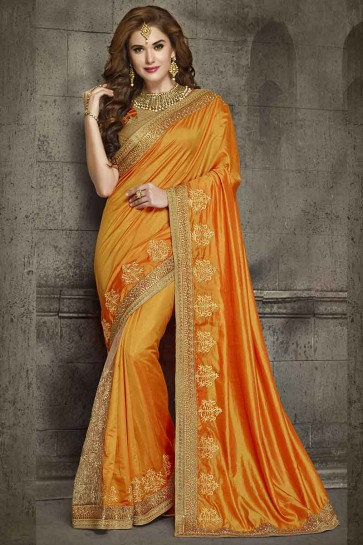 Beige & Orange Silk And Net Saree
