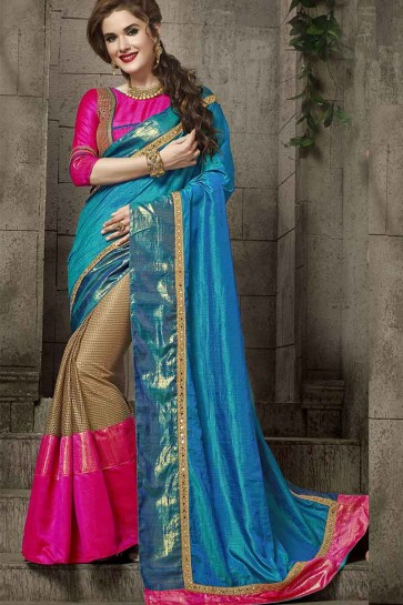 Blue And Beige Silk And Fancy Net Saree