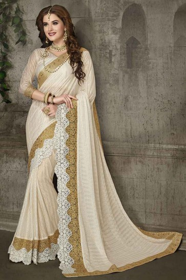 Off White Lycra Saree