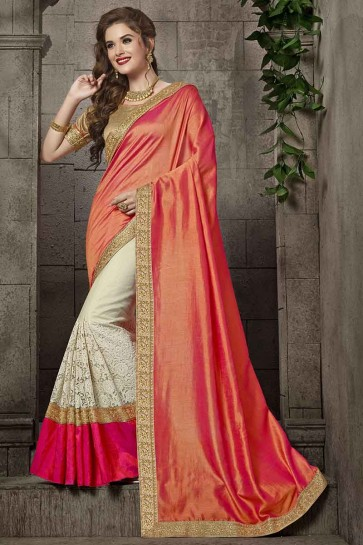 Peach And Off White Silk And Net Saree
