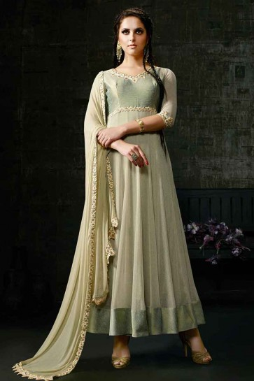 Light Pista Green Banarsi Silk & Fancy Net Anarkali Suit
