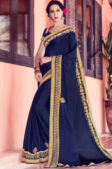 Navy Blue Satin Chiffon Saree
