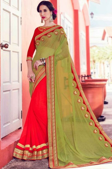 Green and Red Fancy Net  and Georgette Saree