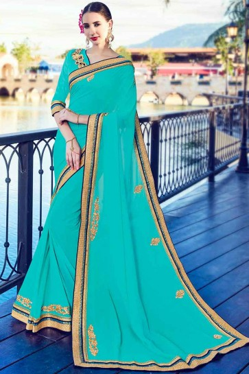 Cyan Georgette Saree