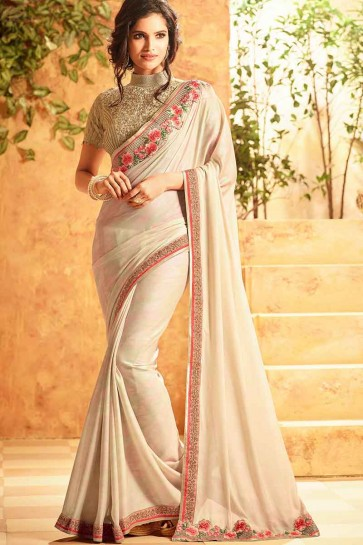 Cream Georgette Silk Saree