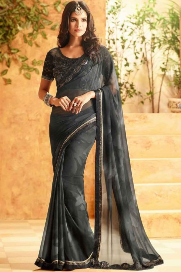 Charcoal Georgette Saree