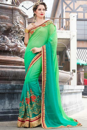 Green & Blue color Chiffon Saree