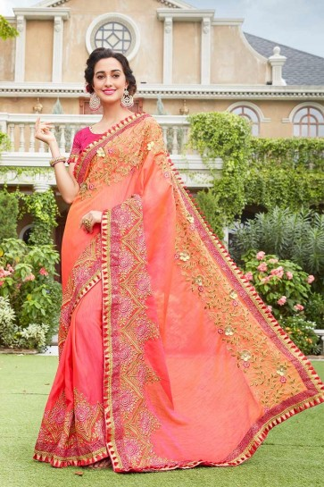 Peach color Art Silk Saree
