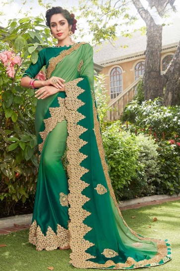 Green & Teal Green color Silk Georgette Saree