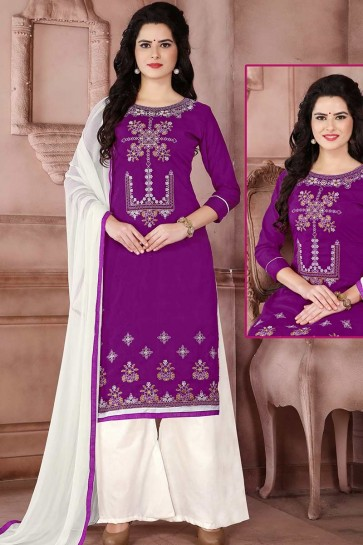 Purple Cambric Cotton palazzo Suit