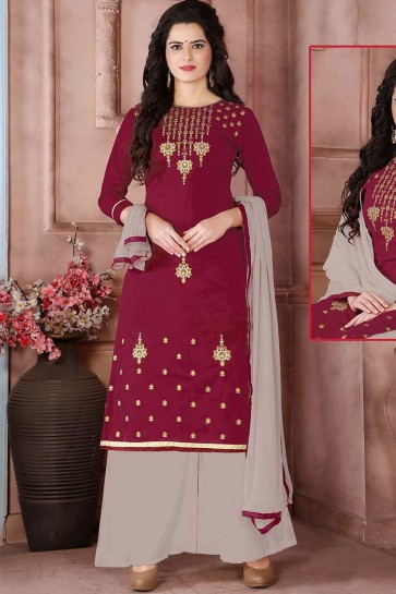 Magenta Pink Cambric Cotton palazzo Suit